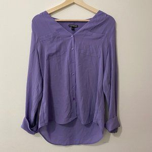 Express Lavender Button Down Blouse Small